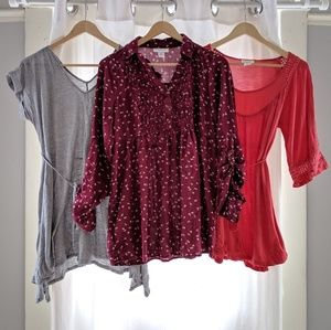 Three tunic tops from Motherhood Maternity